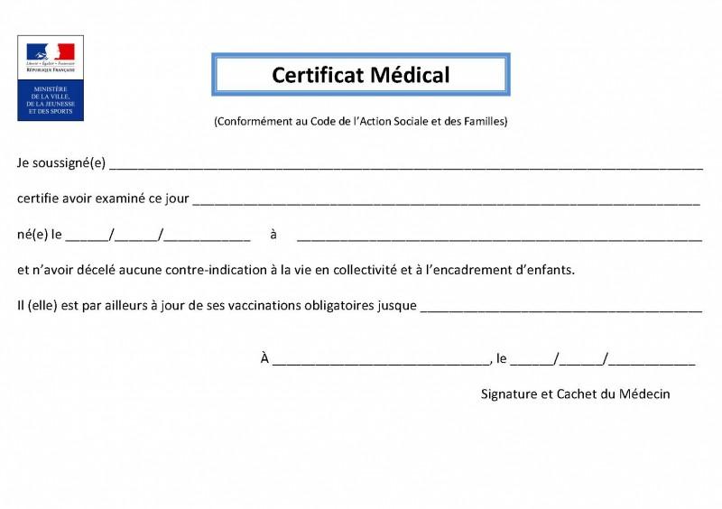 Certificat Médical Candidature ALSH